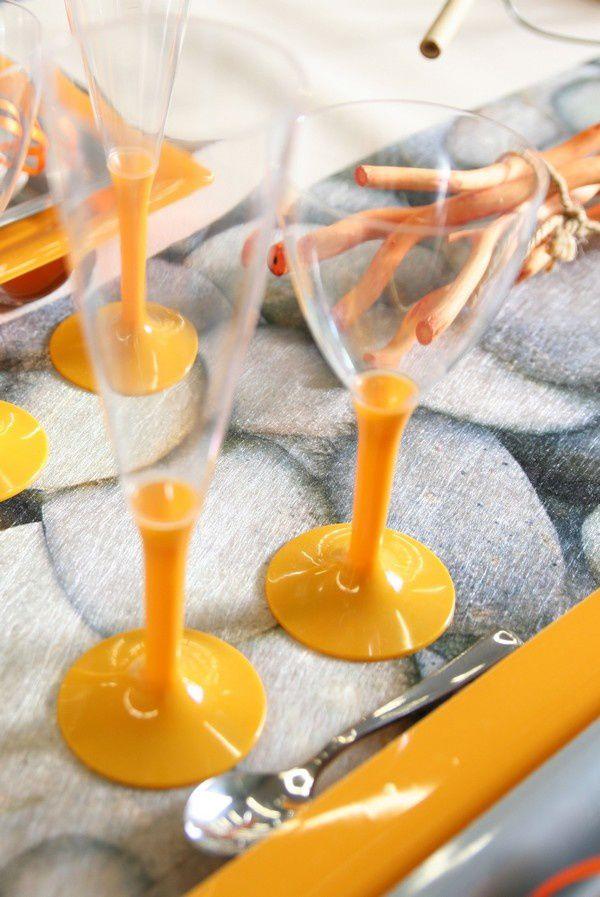 D Coration De Table Galets Orange Et Gris D Corations