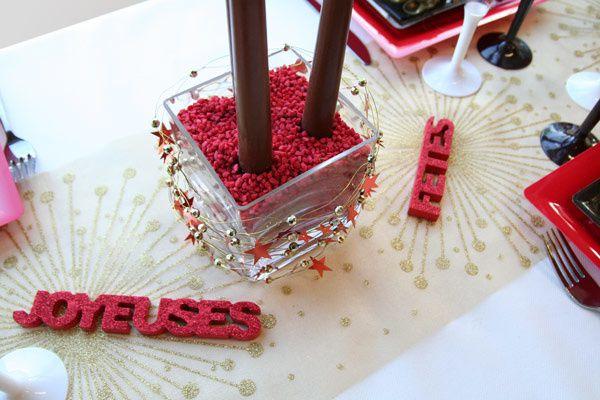 Table de noel rouge et or home design architecture for Deco table rouge et noir