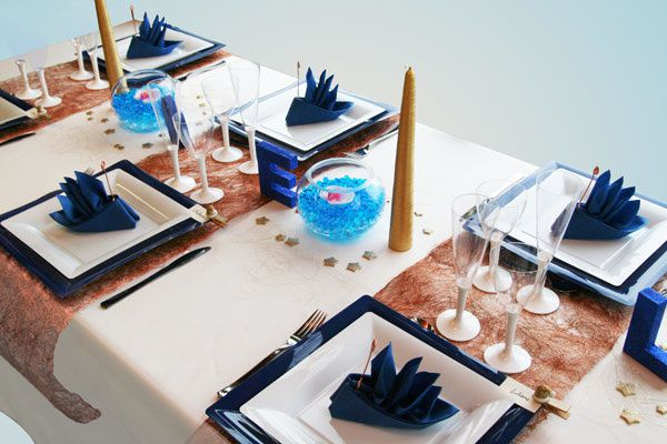 D coration de table no l bleu blanc et or d corations - Decoration table de noel or et blanc ...
