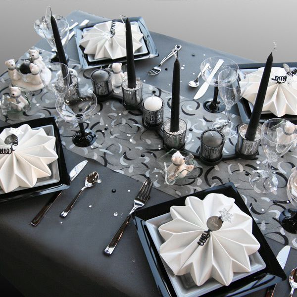 D coration de table no l gris noir blanc d corations f tes - Decoration noir et blanc ...