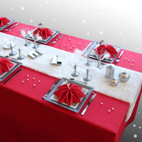 D coration de table no l rouge argent blanc - Deco table de noel blanc ...