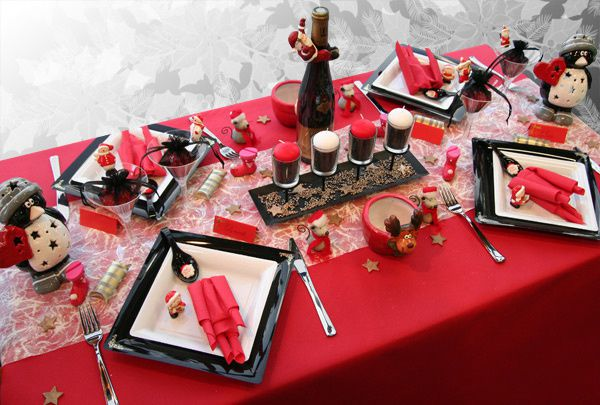 D coration de table no l rouge noir blanc d corations - Decoration table de noel rouge et blanc ...