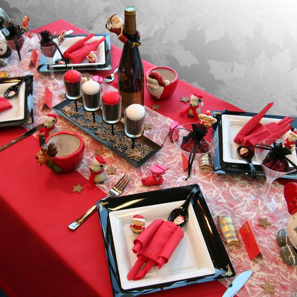 D coration de table no l rouge noir blanc d corations - Decoration pour table de noel ...