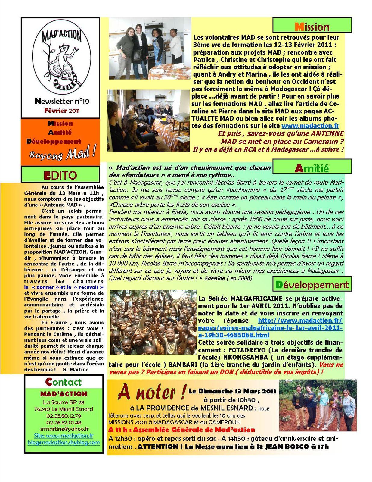 newsletter MAD n°19 Février 2011