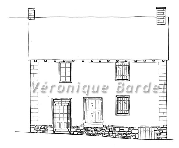Relev architectural v ronique bardel dessin illustration for Dessin facade maison