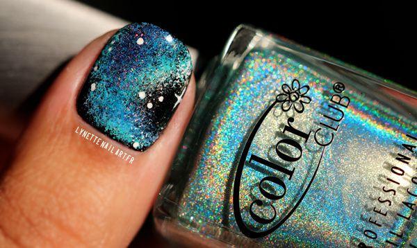 Nail art galaxy blue3