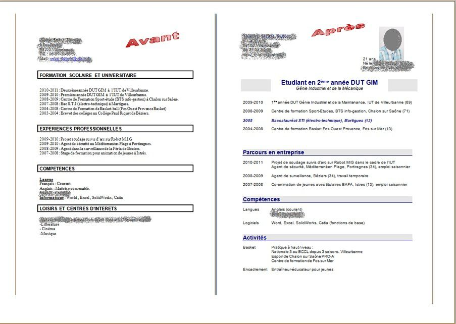 exemple cv 2 pages