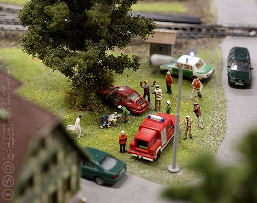 diorama accident pompiers j