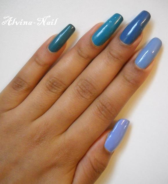 Camaieu de bleus alvina nail art - Camaieu de bleu peinture ...