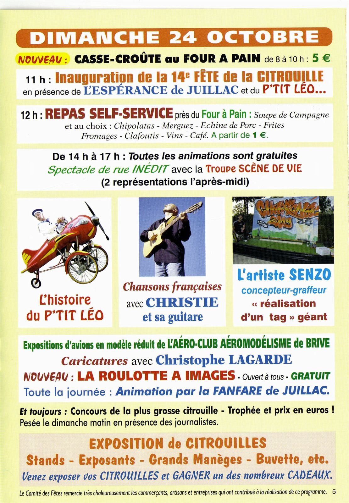 Programme fête de la citrouille Chabrignac 2010