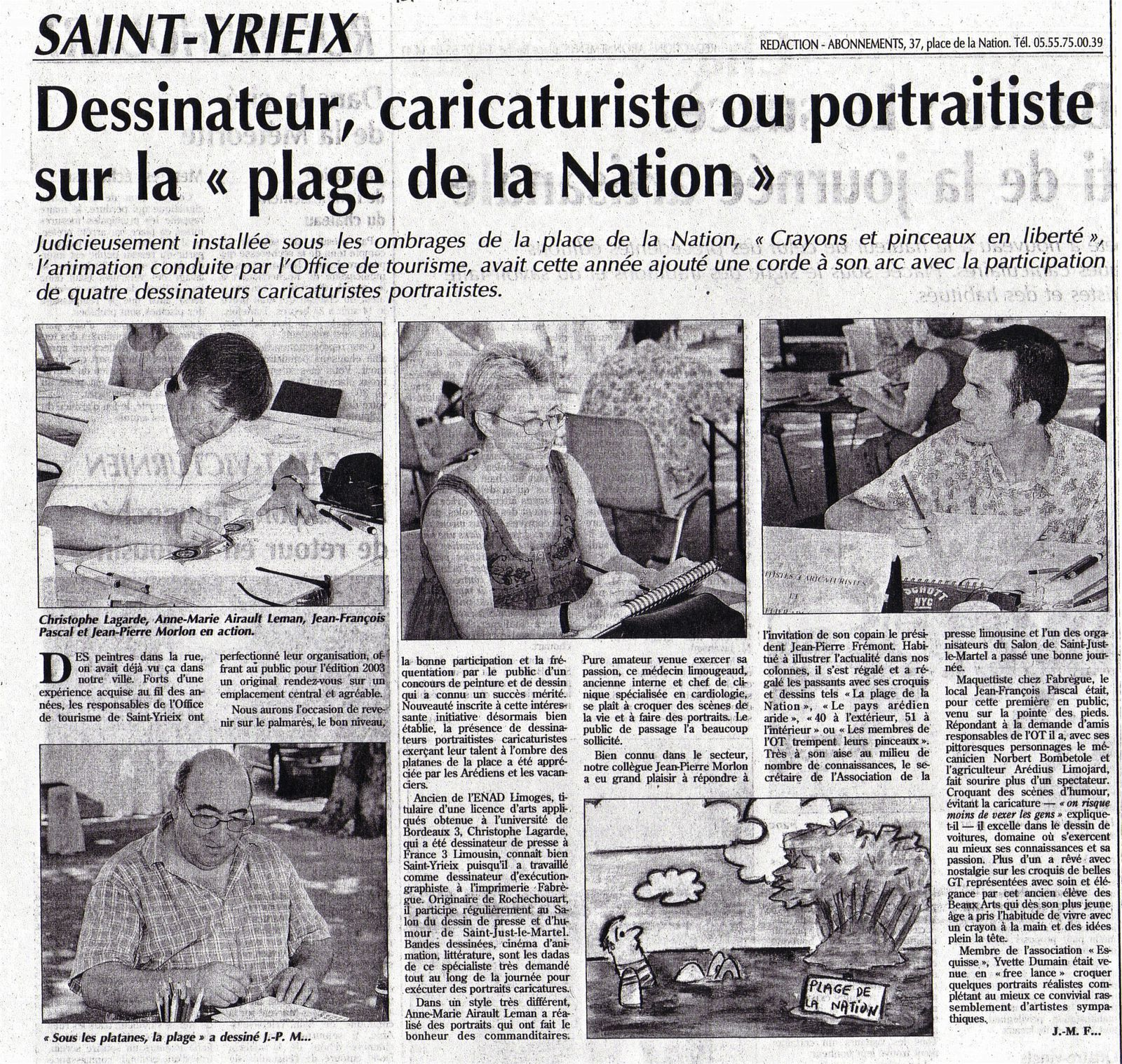 article de presse aout 2003 Saint-Yrieix