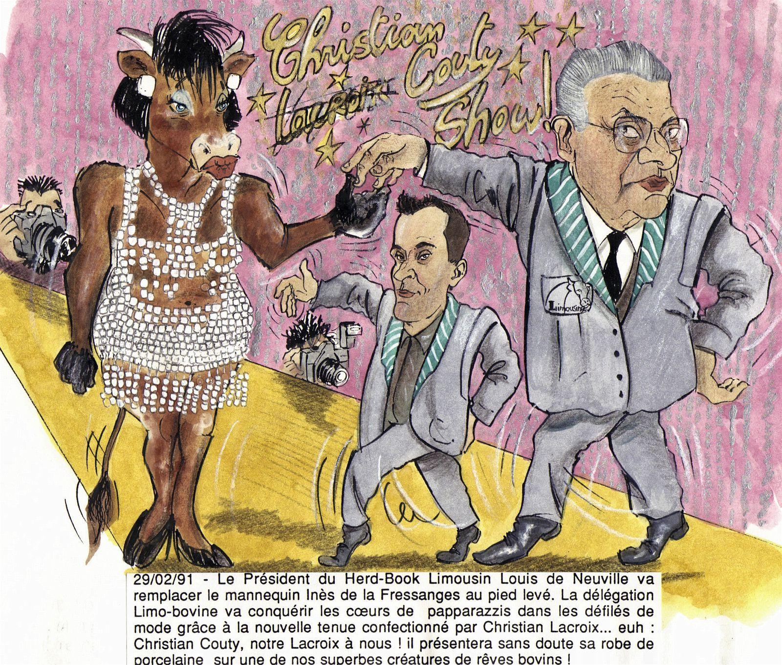 février 91 le défilé de Christian Couty avec une belle l