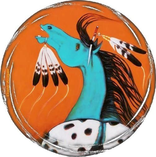 Turquoise horse rond bord gris