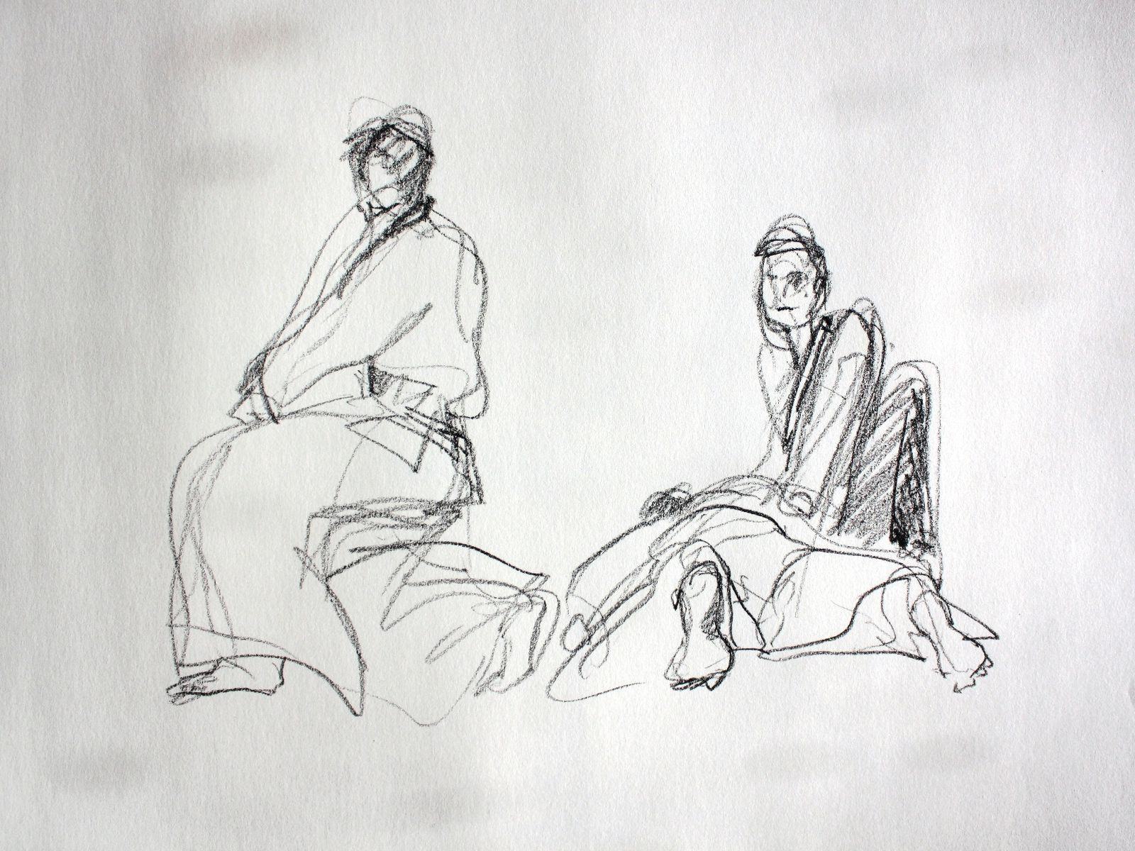 Croquis réalisés à la pierre noire er craies couleurs, pendant l'entrainement du cours de Aikido du Dojo de Gif sur Yvette