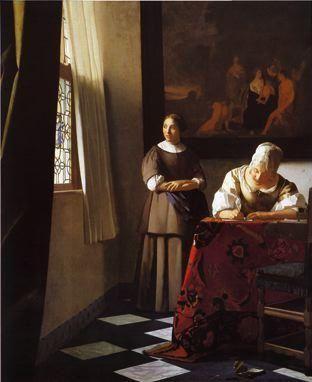 J Vermeer Jeune femme écrivant une lettre et sa servante 1