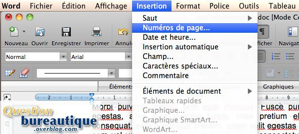 word pagination a partir de la page 3