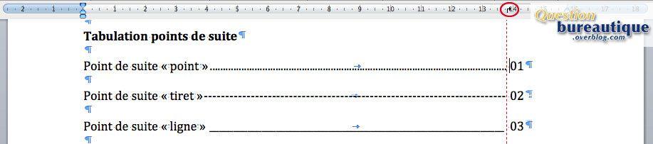 Tabulations sous word cours faciles sur les principales - Comment faire une ligne sur open office ...