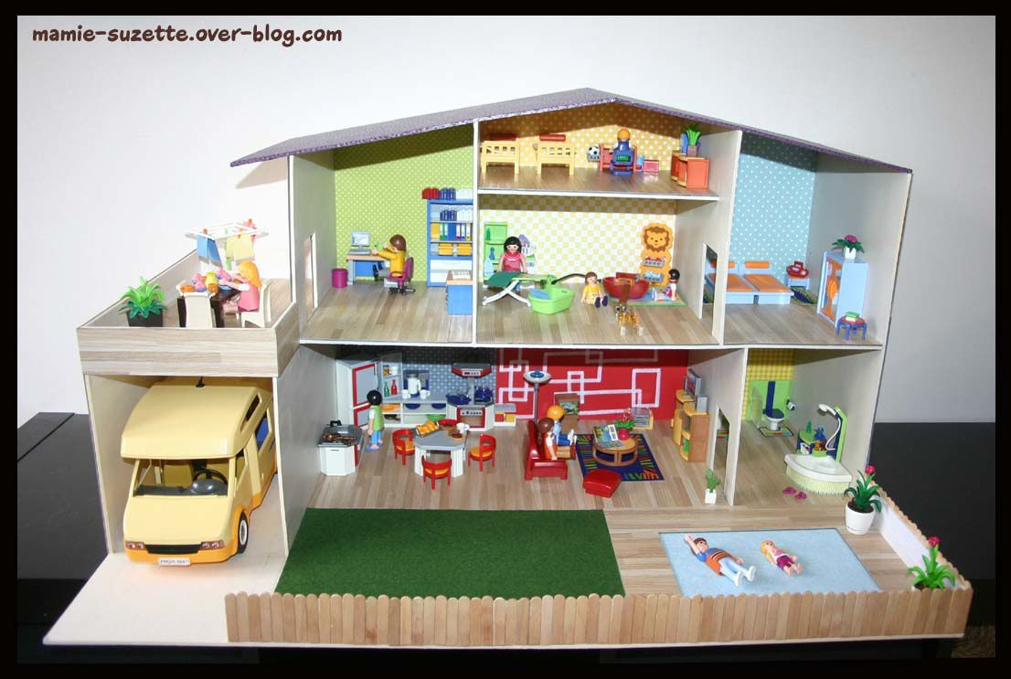 Maison playmobil fait main en cartonnage le blog de for Maison en bois mobile