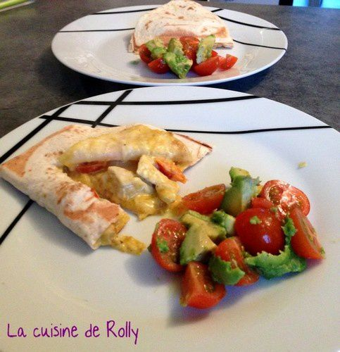 quesadillas poulet curry ouvert