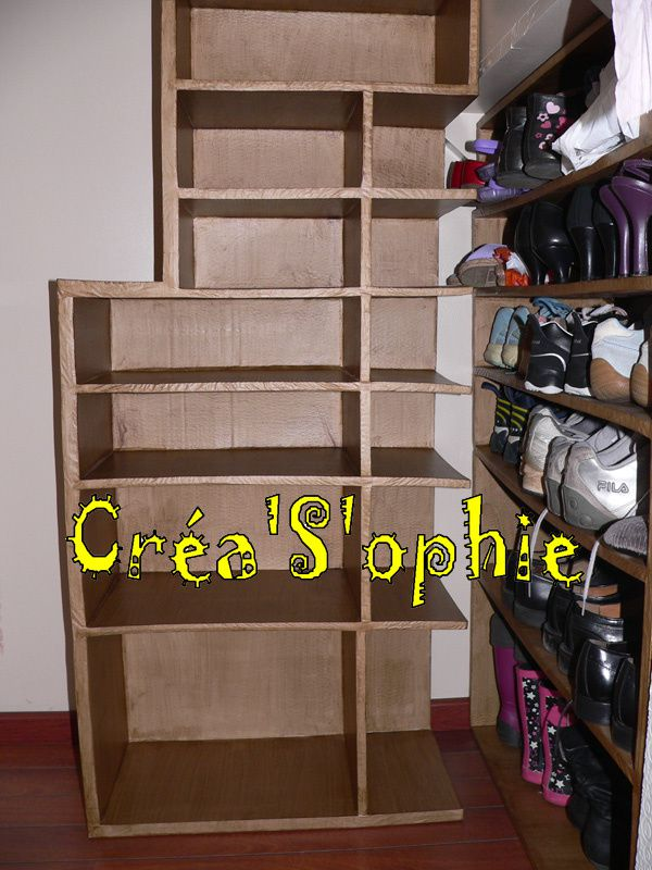 meuble chaussures en carton suite et fin cr as 39 ophie. Black Bedroom Furniture Sets. Home Design Ideas