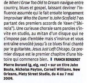 Jazz magazine Novembre 2012 - N°643 - chronique NOLA Impro
