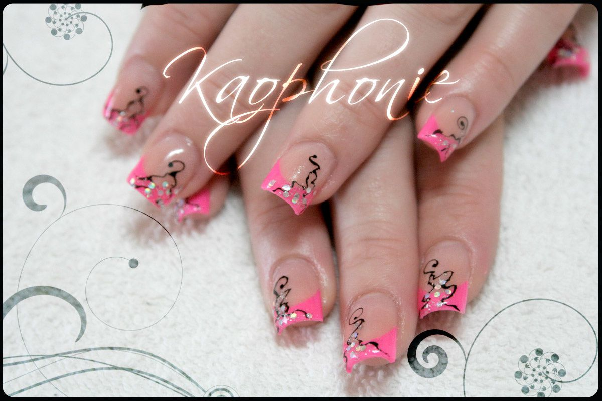 petite french r sine rose fluo kaophonie nail art djinn. Black Bedroom Furniture Sets. Home Design Ideas