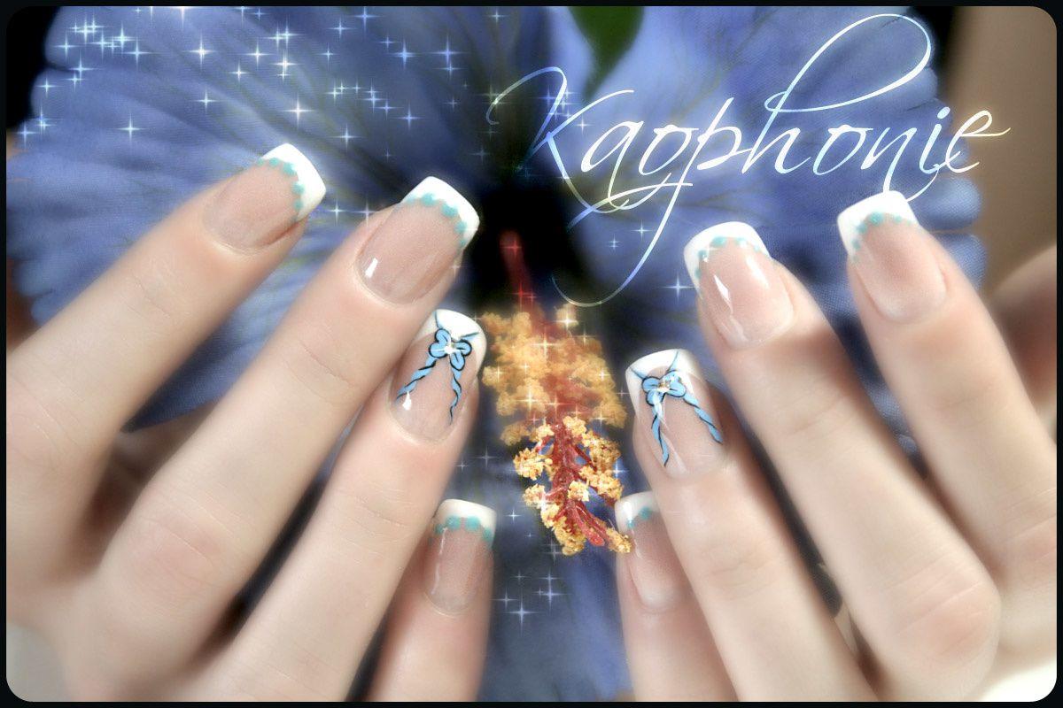 Petits noeuds et pointill s thermo autour du bleu kaophonie nail art djinn des ongles for Comdecoration pour ongles naturel