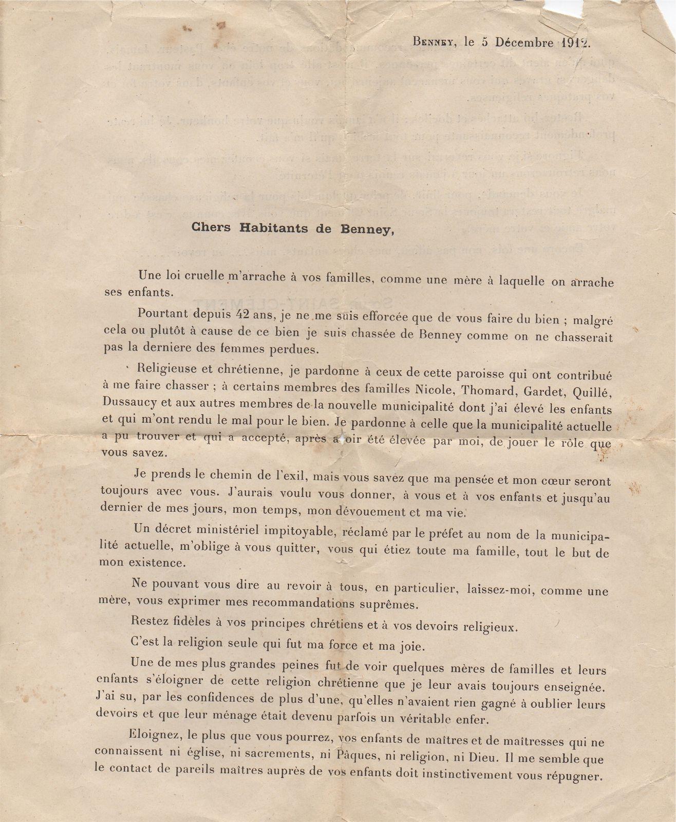 Lettre de Sr St Cléement 1