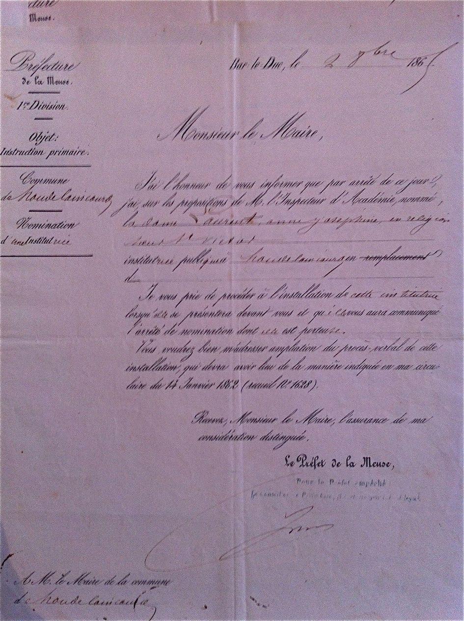 Nomination d'1 soeur 1862