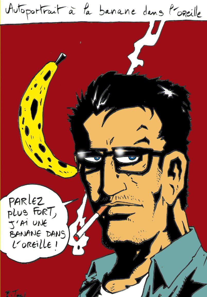 autoportrait banane dans l'oreille