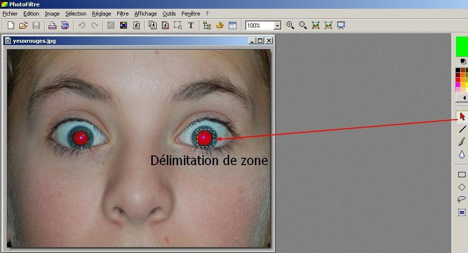 anti yeux rouges photofiltre