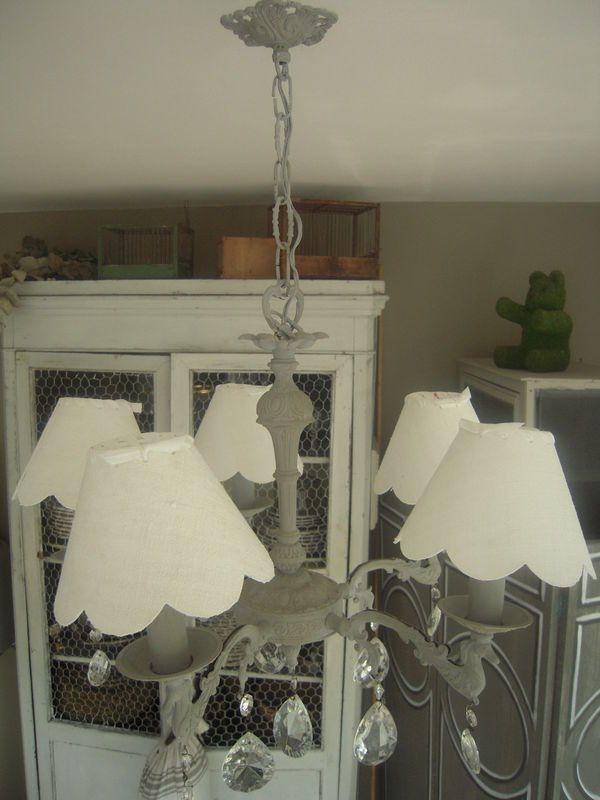 lustre en bronze pampilles 5 branches patin gris flamant patine et gaufre blog. Black Bedroom Furniture Sets. Home Design Ideas