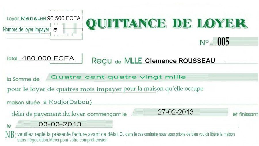 Modele quittance de loyer exacompta rempli document online - Comment declarer une location meublee ...
