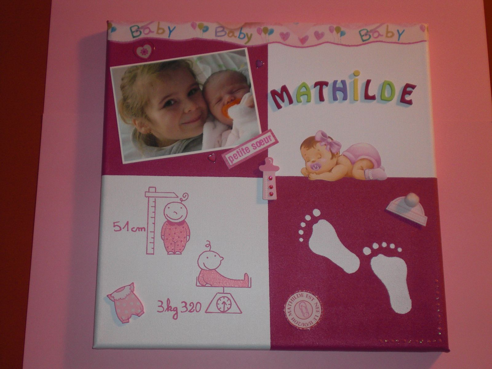 Le scrap de ch nt l blog destin ma passion du scrap - Tableau chambre bebe a faire soi meme ...