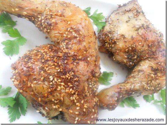 cuisse de poulet au four , recette libanaise