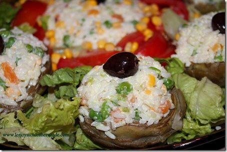 salade composée , artichaud farci au riz
