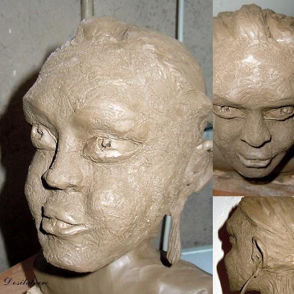Sculpture Buste Guerrier Moko 1