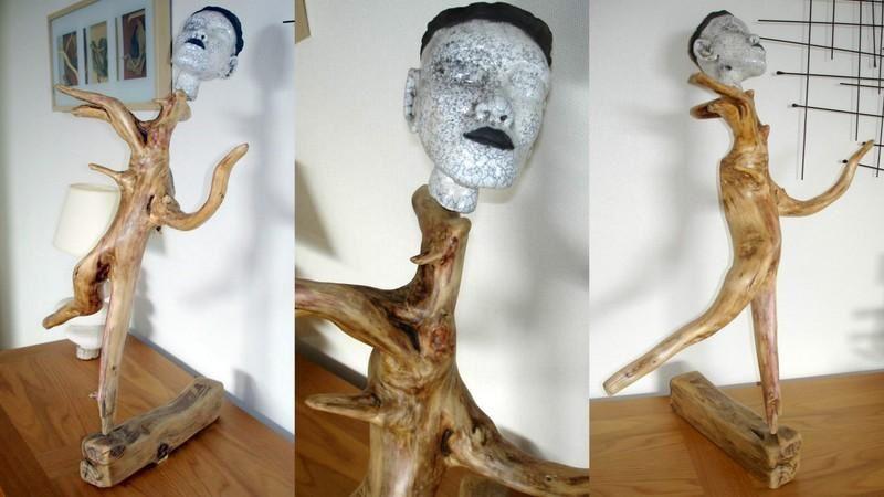 Sculpture Raku sur bois flotté - Dosilaterre - atelier céramique