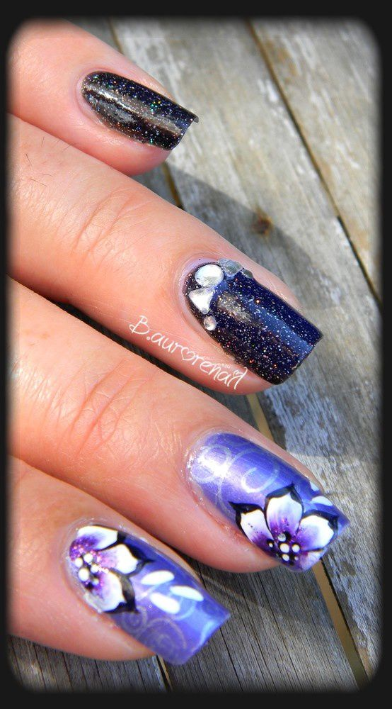 nail art duo noir et violet les ongles de bea. Black Bedroom Furniture Sets. Home Design Ideas