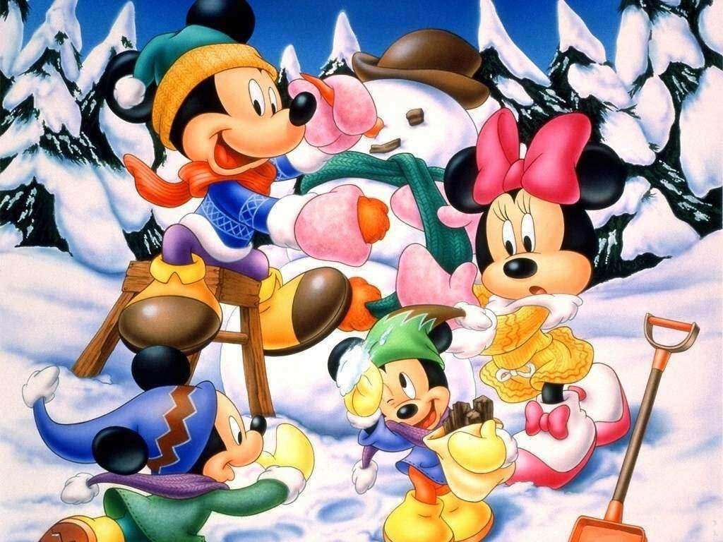 Wallpaper Fond D écran Disney Mickey Minnie Hiver