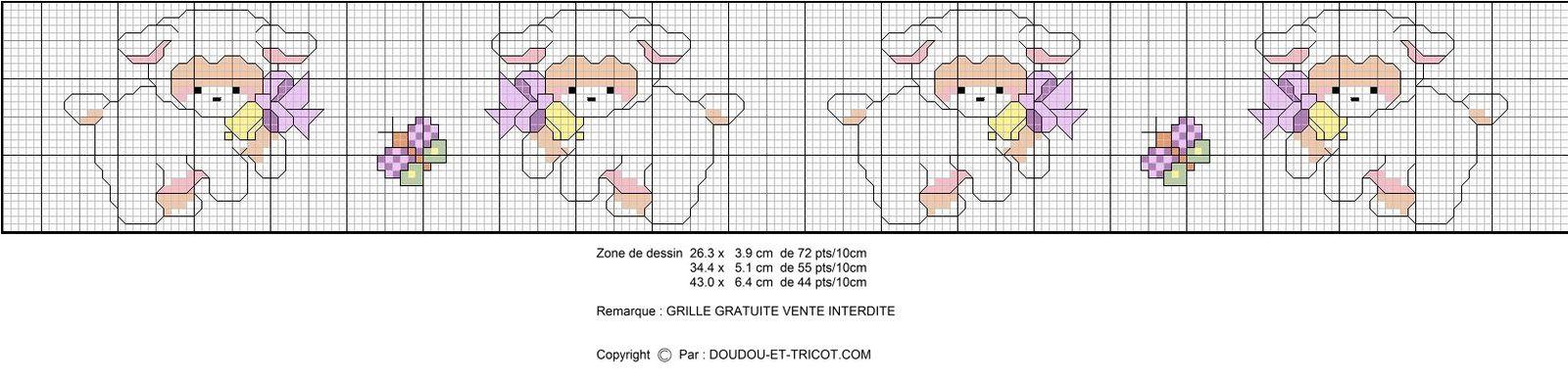 Grille point de croix bordure 1 le blog de doudou et - Grille gratuite point de croix bavoir ...