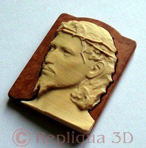 Bijou Christ en marqueterie, dimensions 42x32mm - Repliqua 3D: sculpteur ébéniste