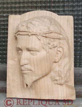 Jesus, sculpture en bois merisier au naturel - Serge Huysmans Repliqua 3D, sculpteur portraitiste