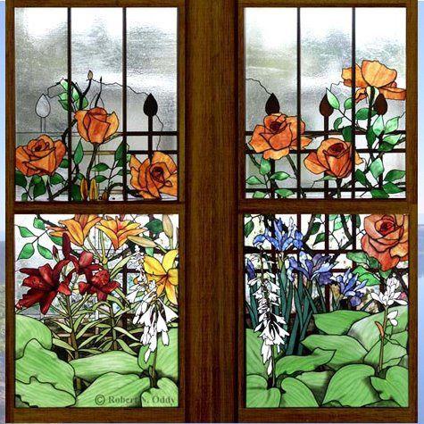Mod le pour vitrail fen tre fleurie vitrail tiffany for Fenetre carreaux de verre