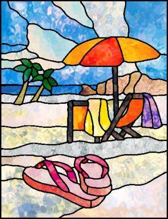 Mod le pour vitrail plage vitrail tiffany for Miroir vitrail modeles