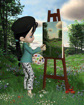 13497646-cute-girl-artiste-toon-avec-des-nattes-et-beret-pe