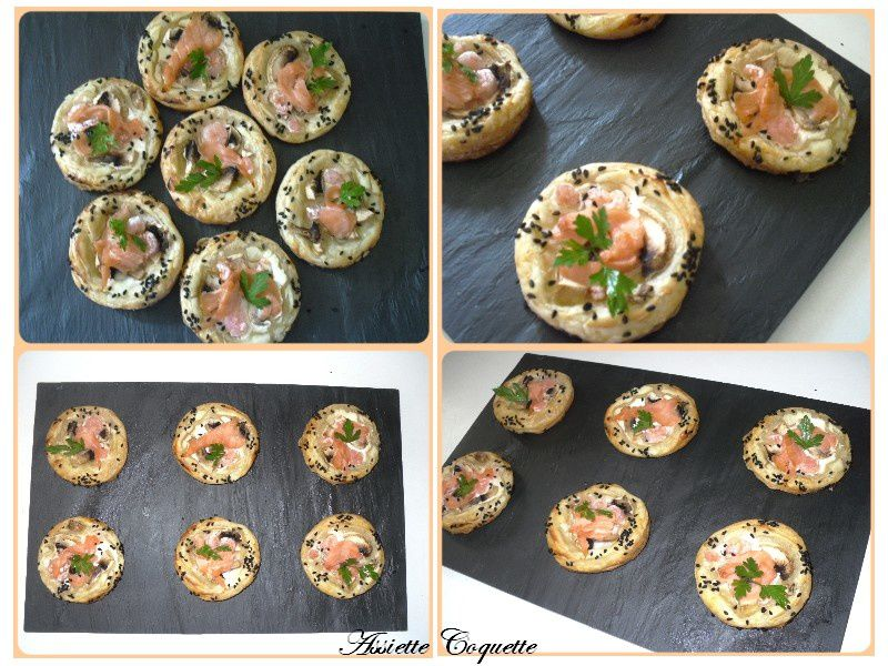 mini pizza saumon crevette