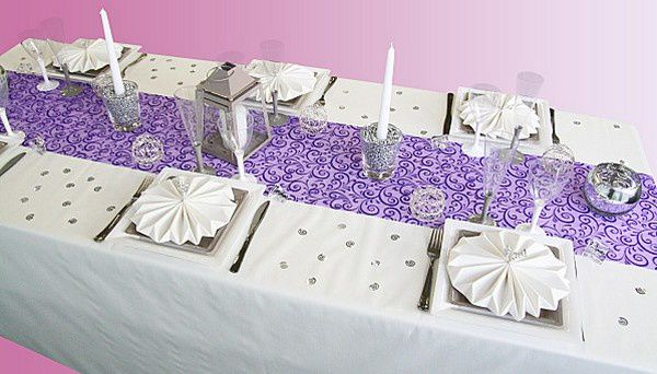 Nos chemins de table couleur prune parme violet d coration f te mariage - Chemin de table violet ...
