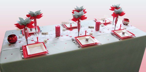 Decoration de table mariage decoration mariage astuces - Decoration de table rouge et blanc ...