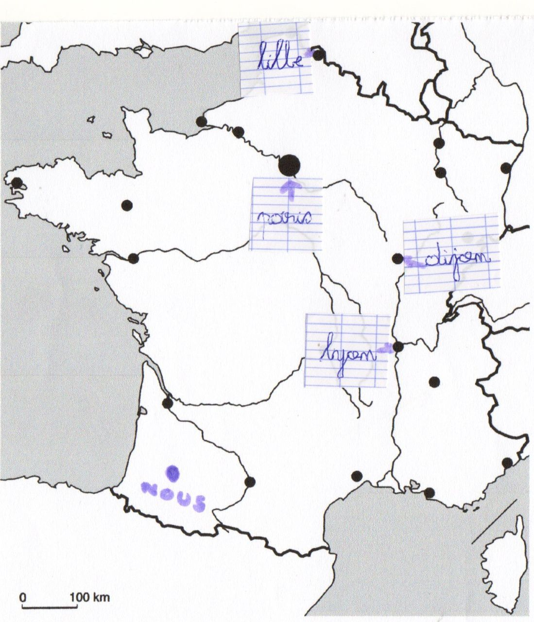 carte de france a completer ce1